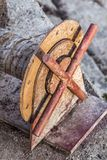 Old Corroded Cable Winch Spool Detail Stock Photos