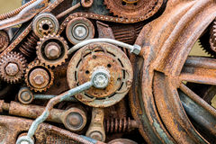 Old corroded metal gears and other scratched details of industri Royalty Free Stock Photography