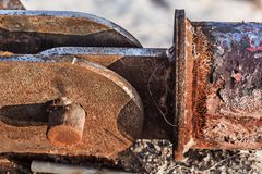 Old Corroded River Raft Hut Docking Bumper Swivel Joint Detail Royalty Free Stock Photo