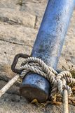 Old Corroded River Raft Hut Iron Bumper Tube Moored And Secured With Thick Rope Stock Photo