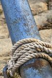 Old Corroded River Raft Hut Iron Bumper Tube Moored And Secured With Thick Rope Royalty Free Stock Image