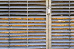 Old corrugated texture of iron blinds dirty color Stock Photography