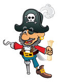 Old corsair. Pirate Captain with hook an treasure map Royalty Free Stock Photos