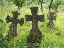 Old cossacs burial. With gray tombstone over grass Stock Images