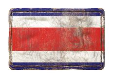 Old Costa Rica flag. 3d rendering of a Costa Rica flag over a rusty metallic plate. Isolated on white background Royalty Free Stock Images