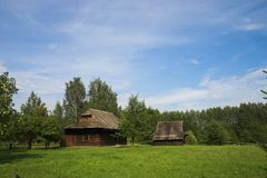 Old cotage. Old hut in country landscape Royalty Free Stock Photos