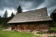Old cotage. Old hut in country landscape Royalty Free Stock Images