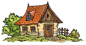 Old Cottage clip-art. Old little cottage.Cartoon clip-art Royalty Free Stock Photo