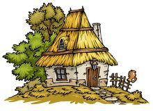 Old Cottage clip-art. Old little cottage.Cartoon clip-art Royalty Free Stock Image
