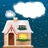 Old cottage covered in snow.Eps 10. Stock Photos