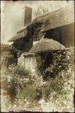 Old cottage with grunge effect vector illustration