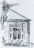 Old cottage, pencil drawing Royalty Free Stock Image
