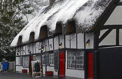 The Old Cottage Resturaunt Ringwood. The Old Cottage Restaurant Ringwood in the Snow Royalty Free Stock Photography