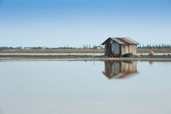 Old cottage on the sea salt farm. Royalty Free Stock Photo