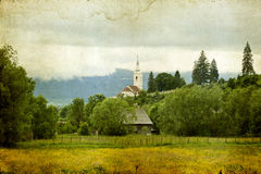Old cottage on the summer field Royalty Free Stock Photo