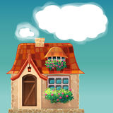 Old cottage with text bubble.Eps 10. Royalty Free Stock Photos