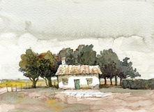 Old cottage and trees watercolor Stock Photos