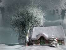 Old cottage in a winter Stock Photos