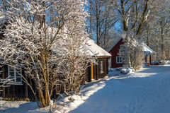 Old cottages in winter Stock Photography