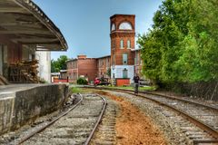 The old cotton mill in Canton Georgia. The old Jones Textile Mill plant 1 in Canton Georgia royalty free stock photos