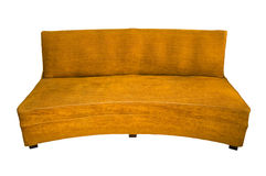 Old couch. Isolated old dusty couch over white background + PATH Stock Photo