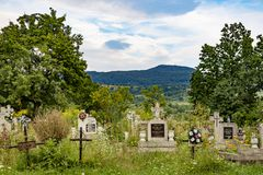 An Old Country Cemetery in Romania stock photography