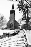Old Country Church in Black and White Stock Photo