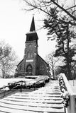 Old Country Church in Black and White Stock Photography