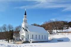 Old Country Church. Old white church with a steeple Royalty Free Stock Photo