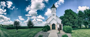 Free Old Country Church With Cornfields Royalty Free Stock Photography - 170399127