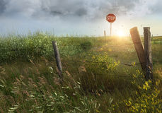 Old country fence on the prairies. In Saskatchewan royalty free stock images