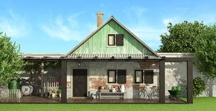 Old country house. With garden - 3d rendering Royalty Free Stock Photo