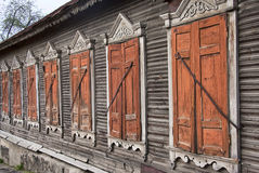 Old country house windows. With closed shutters Royalty Free Stock Photography