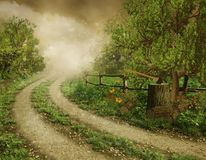 Old country road. Fantasy landscape with an old country road Stock Image