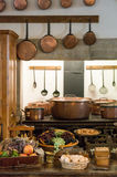 Old country style kitchen with copper pots Stock Photography
