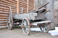 Old wooden cart. Old country truck loaded with wood Royalty Free Stock Photo