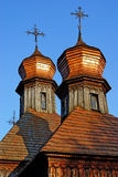 Old country wooden church. Very old shingle-roofed church Royalty Free Stock Photos