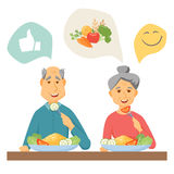 Old coupe eating. Healthy food. Old couple healthy food infographic. Old people healthy lifestyle concept. Smile couple eat healthy food at home together Royalty Free Stock Image