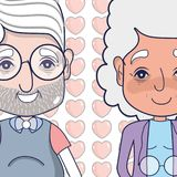 Old coupe people with glasses and hairstyle. Vector illustration vector illustration