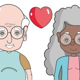 Old coupe people with glasses and hairstyle. Vector illustration stock illustration