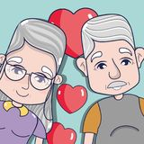 Old coupe people with glasses and hairstyle. Vector illustration royalty free illustration