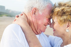 Old couple. Happy romantic old couple closeup royalty free stock photos