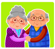 Old couple. Senior couple hugging and smiling Royalty Free Stock Photo