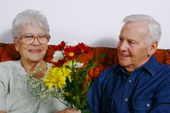 Old couple. Senior man offering some flower to his lady love Royalty Free Stock Photos