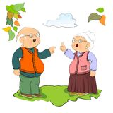 Old couple argument. Argue between funny old wife and husband Royalty Free Stock Photo