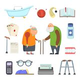 Old couple with assistants tools. Vector illustrations set in cartoon style Stock Images