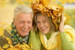 Old couple at autumn park Stock Photo