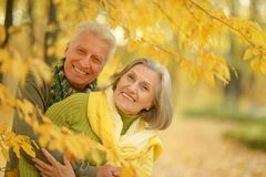 Old couple at autumn park. Happy old couple posing at autumn park Royalty Free Stock Photography