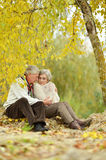 Old couple at autumn park Royalty Free Stock Image