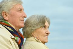 Old couple in autumn park Stock Photo